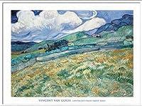 ポスター フィンセント ファン ゴッホ Landscape from Saint-Remy 1889 額装品 アルミ製ベーシックフレーム(ホワイト)