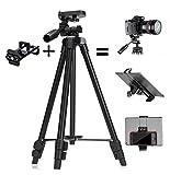 ZenCT  三脚 ビデオカメラ 一眼レフ プロジェクター レバーロック式 3WAY雲台 3段 小型 アルミ 軽量コンパクト 三脚ケース付き スマホ/タブレット2in1ホルダーセット CT039
