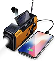 FosPower Emergency Solar Hand Crank Portable Radio, NOAA Weather Radio for Household and Outdoor Emergency with AM/FM,...