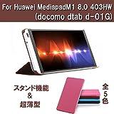 SP-MART(オリジナル)docomo dtab d-01g ケース+(液晶フィルム進呈) Huawei MediaPad M1 8.0 403HW Case [全5色] 軽量スリムケース  三つ折高級PUレザーケース ディータブ d-01g カバータブ