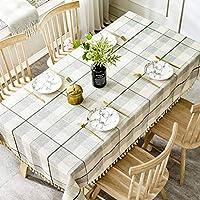ステッチタッセルギンガムテーブルクロス、 ヨーロピアンスタイル コットンとリネン 四角形テーブルのテーブルクロス 現代のシンプルさ 防汚 デコラティブ テーブルカバー-A-90×130センチメートル(35×51インチ)
