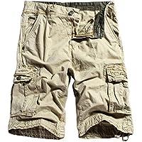 chouyatou Men's Outdoor Multi-Pockets Loose Stylish Chino Cargo Shorts