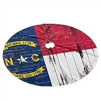 ノースカロライナ州の旗クリスマスツリースカート36インチクリスマスデコレーション屋内屋外48インチ