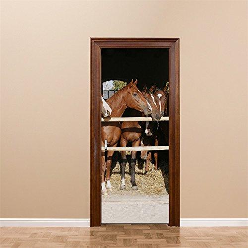 Yanqiao ドア用のステッカー 壁紙 馬の厩肥 カッコイイ欧米スタイル おしゃれ 防水または防潮