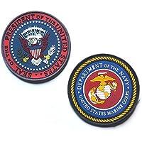 【2点セット】 PVC ベルクロ パッチ [ アメリカ 大統領章 パッチ & アメリカ合衆国海軍省 ] アイロン不要着脱式