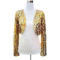 swrose Women's Sequin Long Sleeve Cropped Blazer Shrug Coat Jacket