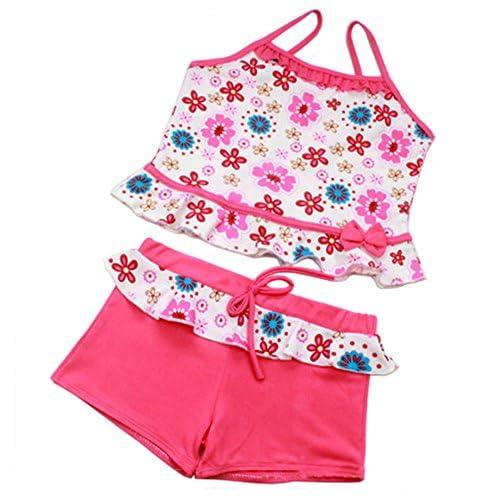 (デマ―クト)De.Markt 水着 子供 女の子 キッズ 海水浴水泳 ビーチ 水遊び トレーニング 速乾 通気性 花柄 可愛いおしゃれ 2点セット 7-8歳