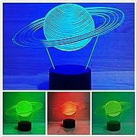 Jinnwell 3D ソーラーシステム ナイトライト ランプ イリュージョン ナイトライト 7色に変化 タッチスイッチ テーブル デスク 装飾ランプ アクリル フラット ABSベース USBケーブルのおもちゃ