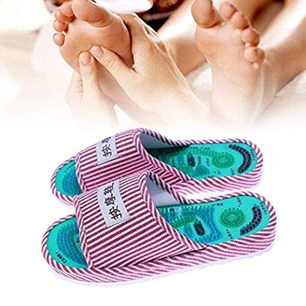 アコードホイスト立ち向かう1ペアアキュポイントマッサージスリッパ縞模様リフレクソロジーフットプロモーション血液循環リラクゼーションコットンフットケアシューズ 1 Pair Acupoint Massage Slipper Striped Pattern Reflexology Foot Promote Blood Circulation Relaxation Cotton Foot Care Shoes (青 白/blue white)