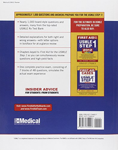 First Aid Q&A for the USMLE Step 1, Third Edition (First Aid USMLE) Tao Le James Feinstein McGraw-Hill Medical