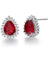 Uloveidoの女性7月の誕生石のジュエリーウォータードロップの梨の形の耳のスタッド結婚式の友情の誕生日のギフト - R815のための赤いクリスタルスタッドのイヤリング
