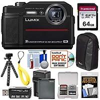 Panasonic Lumix DMC - dc-ts74K Tough衝撃&防水デジタルカメラ(ブラック) with 64GBカード+バッテリー&充電器+ケース+フロートストラップ+三脚キット