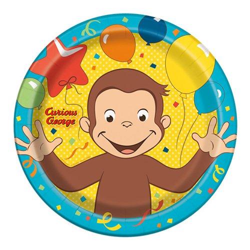 おさるのジョージ ペーパープレート L 8枚入り 紙皿 キュリアスジョージ 誕生会 お皿 パーティー キャラクター グッズ 黄色 イエロー ブルー 青  13273【即日・翌日
