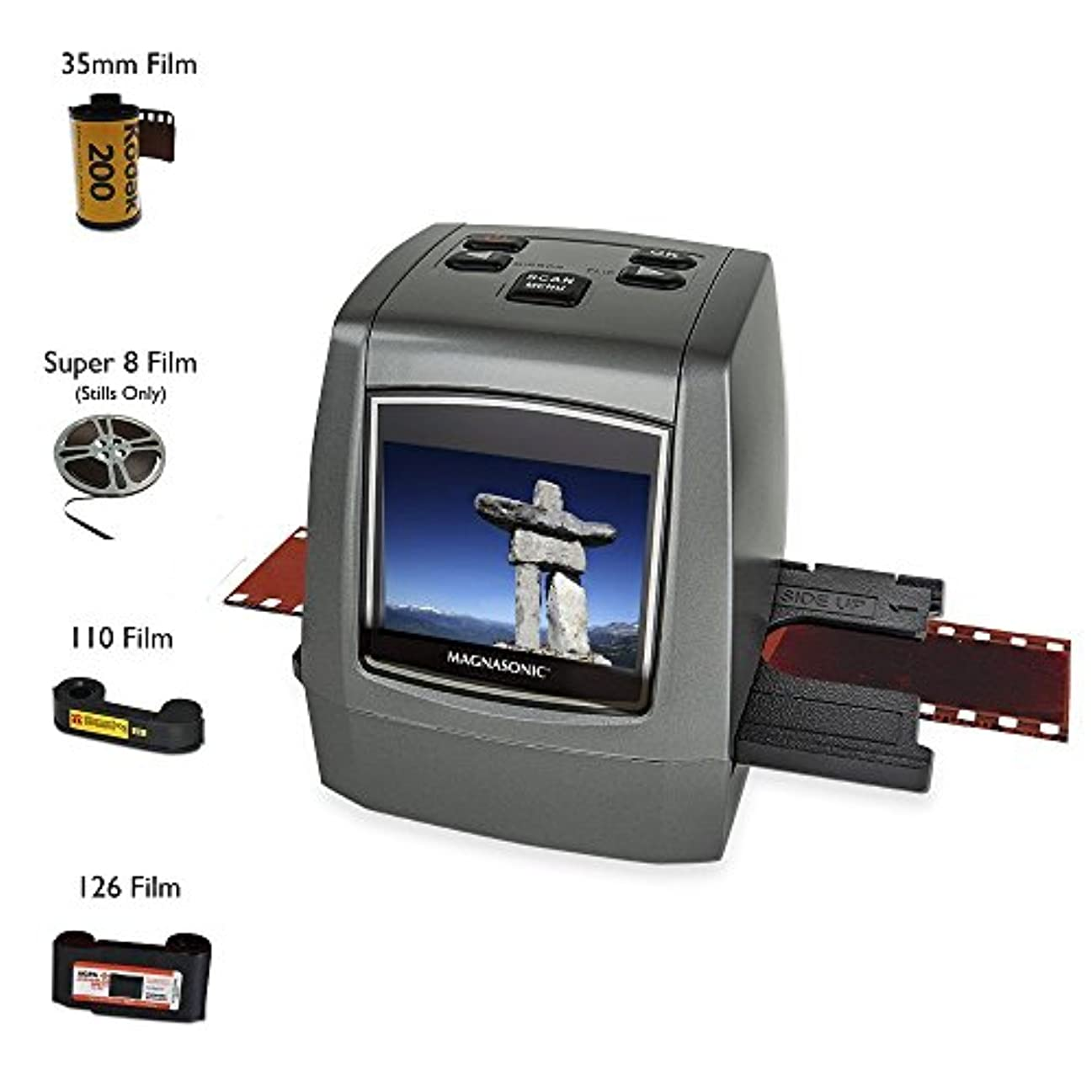 見通しドナウ川印象派Magnasonic All-In-One High Resolution 22MP Film Scanner Converts 126KPK/135/110/Super 8 Films Slides Negatives into Digital Photos Vibrant 2.4 LCD Screen Impressive 128MB Built-In Memory [並行輸入品]