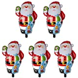 Demiawaking アルミバルーン アルミ風船 クリスマス 可愛い 飾り付け パーティー 幼稚園 子供玩具 3タイプ サンタクロース 5個