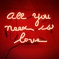 All You Need Is Love RealガラスビールバーパブStore担任Decor Neon Signs 14x 9
