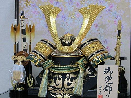 京寿五月人形兜飾りケース入り木製弓太刀付間口43×奥行30×高さ41cm10号中鍬角兜ケース飾りYN50320GKC