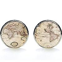 88af5d51b2db7 MFYS Jewelry 地球儀 世界地図 ラウンド カフス  専用収納ケース付き