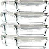 8 Pack 30oz Glass Food Storage Containers, Bayco Glass Meal Prep Containers, Airtight Glass Storage Containers with Lids - BPA-Free & FDA Approved & Leak Proof (8 lids & 8 Containers)