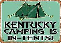 なまけ者雑貨屋 アメリカン 雑貨 ナンバープレート Kentucky Camping is in-Tents ヴィンテージ風 ライセンスプレート メタルプレート ブリキ 看板 アンティーク レトロ