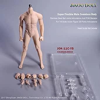 1/6 男性 シームレス 素体 フィギュア ボディ フィギュア 超柔軟 超可動 皮膚改良 2ペア交換手 4種類ヘッドコネクタ 4種類男性器付き 見事な筋肉 JOK-11C-YS 肌色