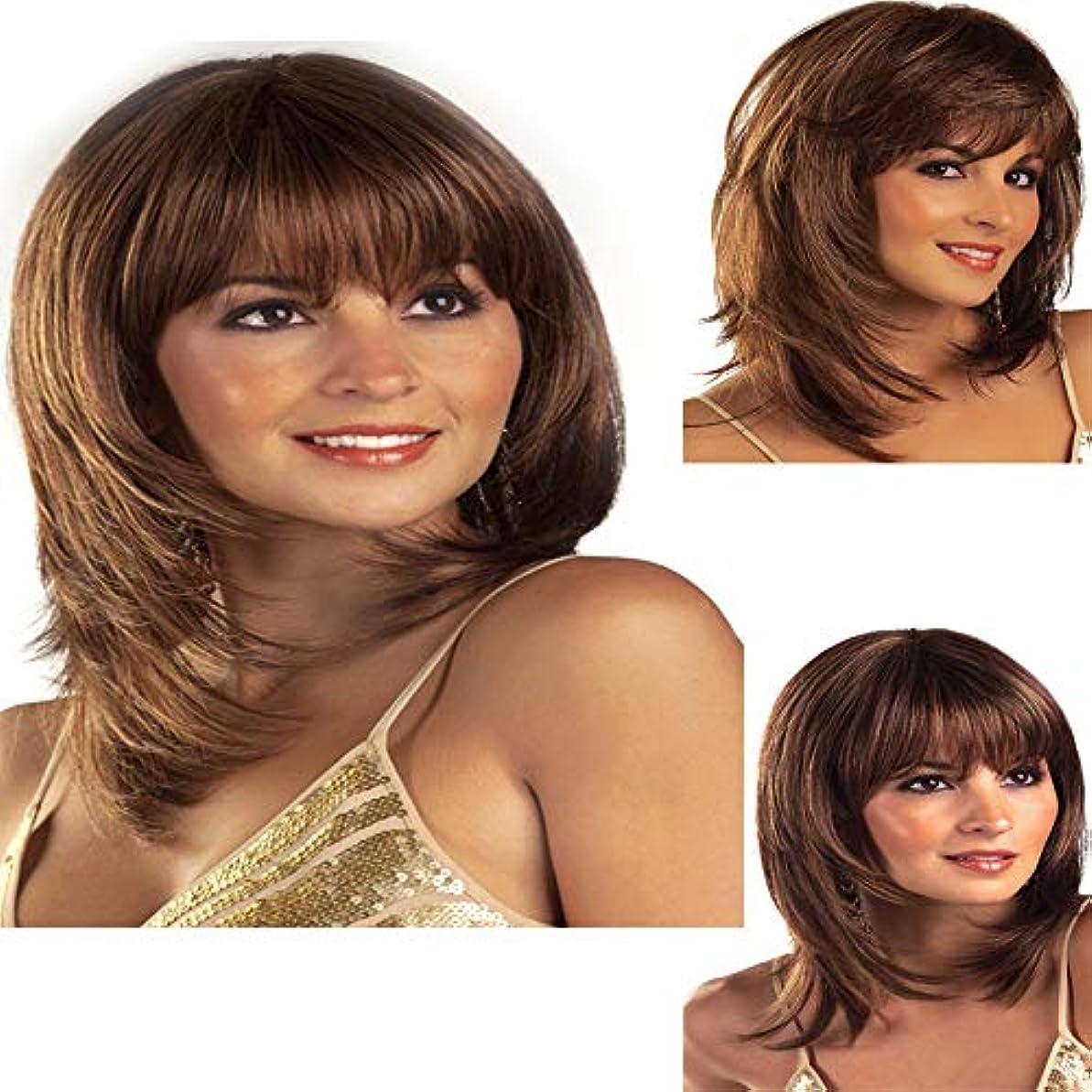 シンプルな間に合わせ妥協毎日のために前髪ショート波状カーリーウィッグ耐熱完全な頭部の髪の交換ウィッグ着用やコスチュームウィッグとダークブラウンの合成ウィッグ