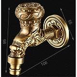 屋外or洗濯機用アンティーク真鍮装飾蛇口_style8