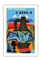 チリ - エールフランス - ビンテージな航空会社のポスター によって作成された ジャック・ナタン=ガラモン c.1962 - アートポスター - 76cm x 112cm