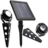 Solar Spotlight // MITHOS 50X Twin Warm White LED Spotlight // 60-100 Lumen // Cast Aluminium
