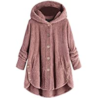 BOZEVON Womens Fleece Hoodie Jacket - Autumn Winter Warm Open Front Collar Fluffy Coat Oversize Solid Color Casual Fleece Cardigan Jacket Outerwear