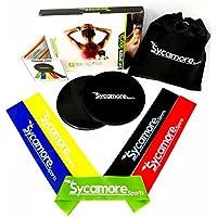 Sycamoreスポーツ練習抵抗ループバンド(セットof 5、天然ラテックス)、Dual Sidedグライディングディスク(Set of 2 )、軽量エクササイズ機器のホーム、