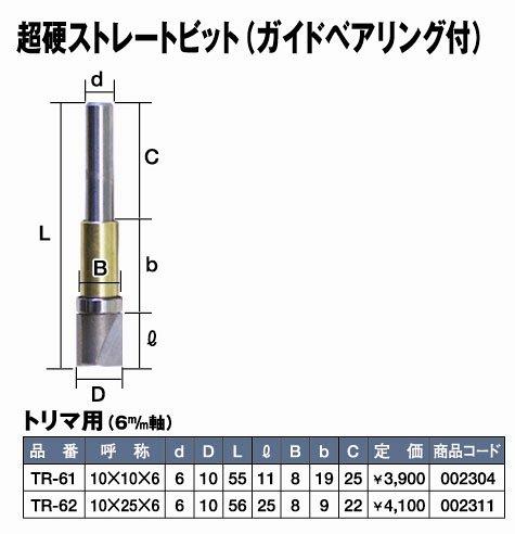Super 超硬ストレートビット(ガイドベアリング付) 10×10×6  TR-61