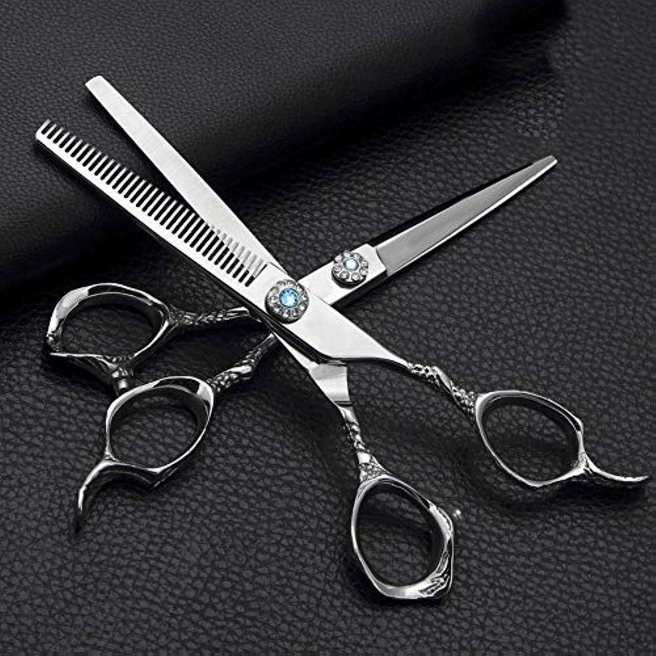シャーロックホームズ罪人調整するGoodsok-jp 6.0インチの理髪はさみ、ステンレス鋼の平らなせん断の歯のはさみの理髪のはさみセット (色 : Silver)