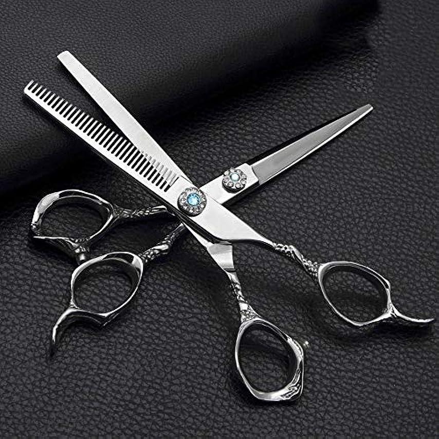 ダメージ権限を与えるケージ理髪用はさみ 6.0インチ理髪はさみ、ステンレス鋼フラットせん断+歯はさみ理髪はさみセットヘアカットはさみステンレス理髪はさみ (色 : Silver)