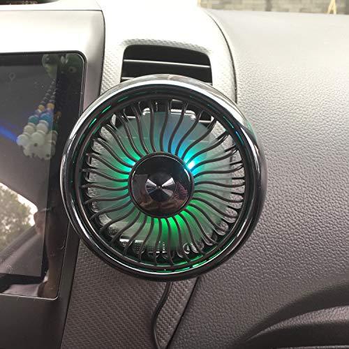 熱中症対策・C-Timvasion 小型 軽量 大風量 車載扇風機 ・LEDライト機能付き 強風量 省エネ 夏対応 車用 USBファン・3段階風量調節 角度調節360°回転 7枚羽根 車用扇風機「エアコン取り付け型」日本語説明書