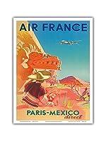 パリ - メキシコダイレクト - エアフランス - マヤ遺跡 - ビンテージな航空会社のポスター によって作成された S. プラウト c.1952 - アートポスター - 23cm x 31cm