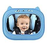 車用 ベビーミラー IntiPal 車載 簡単取付 後部座席用 角度調整可能 安全構造 後部座席の様子がすぐ分かる お出かけ時の便利グッズ (Blue)