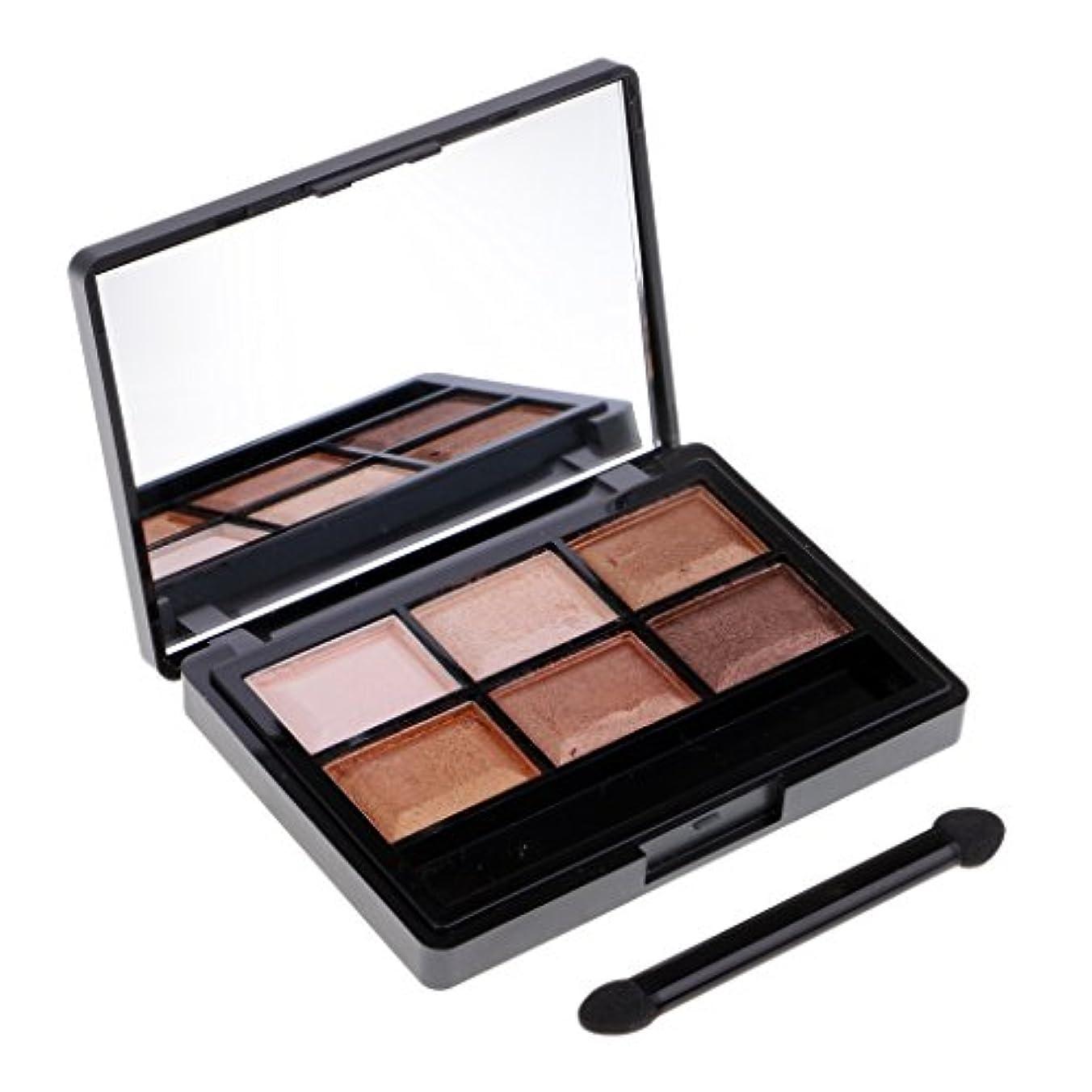 五十から絶対の6色アイシャドウ化粧パレットアイシャドウ顔料ペレットブラシセット - 04#アースカラー
