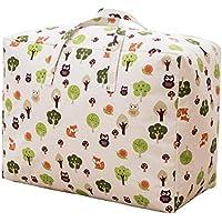 [えみり] ボストンバッグ 綿麻 引っ越し 運搬 衣類?布団収納袋 布団収納ケース 撥水バッグ キャンプ 旅行 花柄 寝具収納 持ち運びやすい