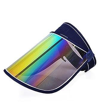 UVカット サンバイザー つば広 帽子 ミラー ワイド フルフェイス角度調整 高耐久性 日よけ 紫外線 日焼け ネイビー