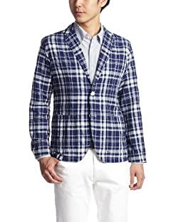 Edifice Blended Cotton Check Shirt Jacket 13010300309220: Navy