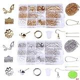 22種 金具パーツセット アクセサリー基礎パーツ 2色(ゴールドとシルバー) 約1440個手芸材料 ケース2個付き