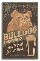 ブルドッグ–レトロスタウトビールAd 10 x 15 Wood Sign LANT-54877-10x15W