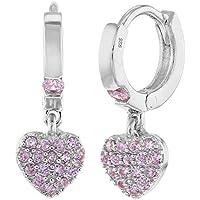 925 Sterling Silver CZ Small Hoop Dangle Heart Baby Girl Kids Earrings