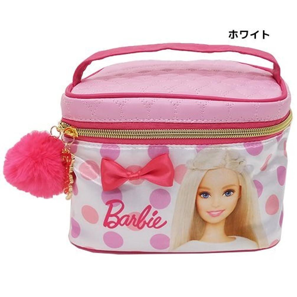 効果店主列車Barbie バービー[コスメポーチ]バニティポーチ/ファーチャーム付きサテンシリーズ 【ホワイト 】