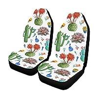 CKYHYC カーシートカバー サボテンの花 自動車 座席 クッション マット 前席 2個 フロントベンチシート用 保護 防水 適用 ずれにくい おしゃれ