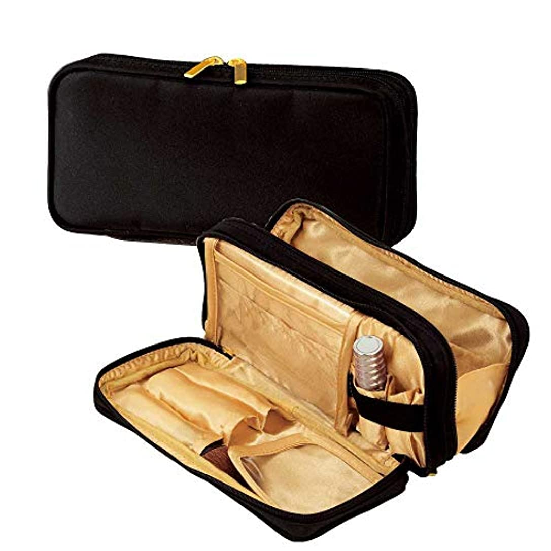 functional?マルチポーチ(gold)ブラシ入れ付きの機能的な化粧ポーチ