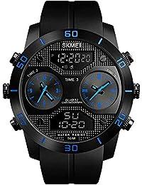 SKM メンズ アウトドア スポーツ マルチファンクション ウォッチ ファッション トレンドラージダイヤル 防水電子 ビジネス ウォッチ
