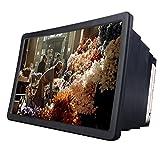 FEILAIS スマートフォン 用 スクリーン 3D拡大鏡 3D画像体験  スマホ シアター 画面拡大 高画質 目の疲れ軽減 伸縮可能 スタンド機能 (ブラック)