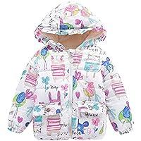 Weixinbuy Little Girls' Cotton Graffiti Pattern Winter Warm Jacket Overcoat